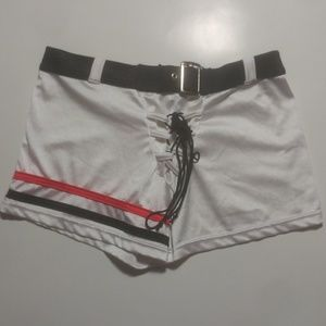 Pants - White Shorts with Red/Black Stripes
